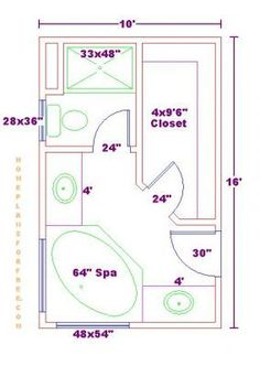 Standard 9ft X 7ft Master Bathroom Floor Plan With Bath