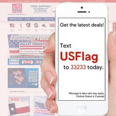 """Text """"USFlag"""" to 33233 to have the latest specials, coupons, and promotions sent right to your inbox! Military Flags, Flagpole Lighting, Navy Rings, Flag Display Case, Us Flags, Flag Store, Grave Markers, Patriotic Outfit"""