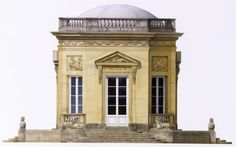 An architectural watercolor of the Belvedere. A small structure designed by the queen's architect, Richard Mique on the grounds of the Petit Trianon at Versailles.
