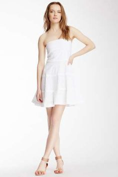 See By Chloe Strapless Eyelet Flare Dress