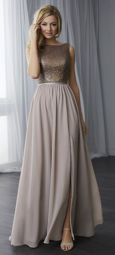 . The skirt begins at the natural waist and features a slit