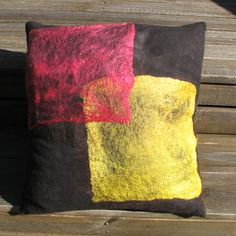 Felted cushion, 40cm square - merino wool overlaid with silk hankies.