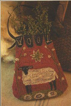 Free Primitive Painting Patterns | Primitive Folk Art Punchneedle Pattern: WOOL POCKET -- Printed Weavers ...