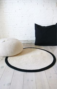 Round Rug floor crochet 90cm by lacasadecoto on Etsy