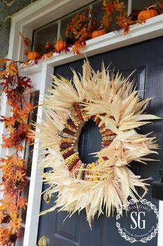 FABULOUS FALL FRONT PORCH- Get inspired and create a fall front door and porch that says a happy fall hello to all who pass by! Harvest Decorations, Seasonal Decor, Holiday Decor, Indian Corn Wreath, Fall Arrangements, Fall Diy, Fall Home Decor, Fall Harvest, Holiday Wreaths