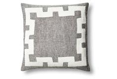 Applique 18x18 Linen/Velvet Pillow, Gray