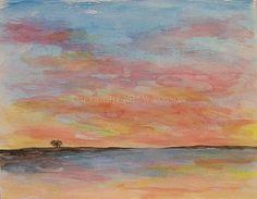 Sunset Island Tree Watercolor Original Painitng by winjimir, $45.00