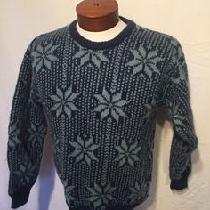 Blue Nordic Star Spelana Classic Irish Wool Sweater Medium M Made in Ireland UGLY CHRISTMAS SWEATER by UglySweaters4U on Etsy