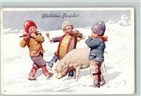 Feiertag, K. BKW Serie 2950-4 Neujahr - Kinder musizieren , Schwein