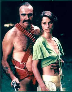 Scottish actor Sean Connery and English actress Charlotte Rampling pose in a promotional still for the science fiction film 'Zardoz,' directed by John Borman, 1973, Ireland. (Photo by 20th Century Fox/Courtesy of Getty Images)