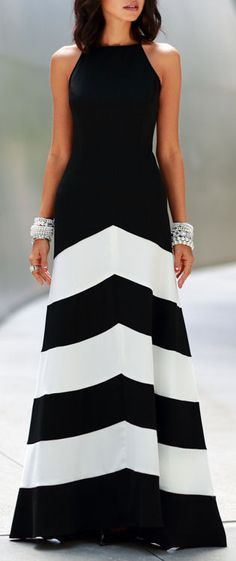 Chevron Gown | Black & White