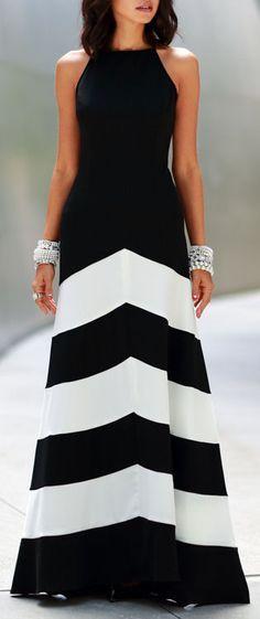 Chevron Gown   Black & White