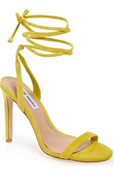 Bright, thin suede laces elegantly wrap around the ankle on this chic sandal from Steve Madden.