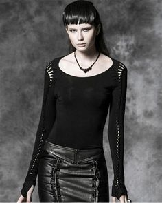 Punk Rave Solaris Top Black Goth Punk Visual Kei Twisted Slash Back Long  Sleeve d9f2d52b8c1