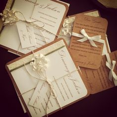 Handmade invitations and rsvp's with cardstock, ribbon, twine, paper flowers and swingtags!