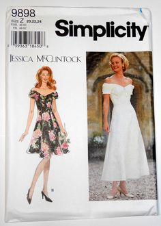 Simplicity 9898 Flared Dress Jessica McClintock Princess Seam Off the Shoulder #Simplicity #FitFlareOfftheShoulderPrincessSeam