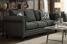 TRADITIONAL CHARCOAL GRAY ROLLED ARM NAIL HEAD SOFA LIVING ROOM FURNITURE SALE
