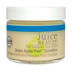 Juice Beauty Green Apple Peel Sensitive.  Smells horrid, looks like baby food but makes your skin feels amazingly soft afterwards.