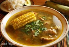 In my book this soup is the best ever! Colombian Chicken Sancocho - Sancocho is a hearty soup, almost like a stew and is a traditional dish in the region of Antioquia, Colombia. Colombian Dishes, Colombian Cuisine, Colombian Recipes, Colombian Sancocho Recipe, Cuban Recipes, Healthy Soup Recipes, Skinny Recipes, Cooking Recipes, Sancocho Colombiano