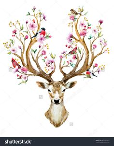 watercolor vector illustration isolated deer, big antlers, flowers and birds on the horns, branches cherry flowering plant,Bird red cardinal, bird bullfinch