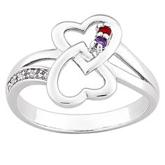 """""""Linked Forever"""" Hearts and Birthstone Ring - Personalized Jewelry Shop, Jewelry Stores, Jewelry Design, Mother Jewelry, Birthstone Jewelry, Bridal Gifts, Austrian Crystal, Birthstones, Heart Ring"""