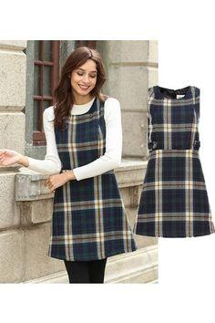 Lesara Glencheck-Kleid mit Seitenriegeln - S