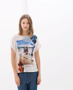 PRINTED LINEN T-SHIRT from Zara