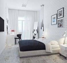 Decoração quarto com parede de tijolinho Branco e penteadeira no cantinho