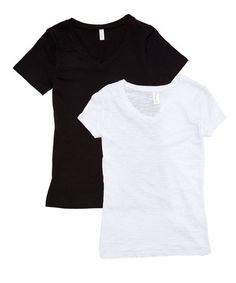 Pima Apparel Black & White Two-Piece V-Neck Tee Set - Women | Zulily