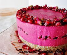 Fragrant Vanilla Cake: Raw Rose Pomegranate Dream Cake
