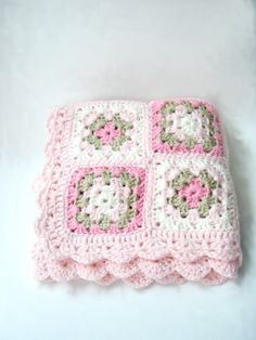 Pink Crochet Baby Blanket Newborn Blanket Photo prop