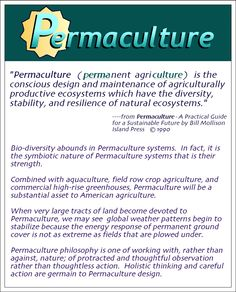 Permaculture is more than just an agricultural system. It is a philosophy, a way of life, and a way of thinking about how things should be placed relative to each other.