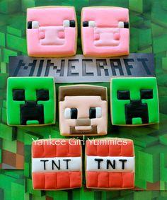 Minecraft cookies~ By Yankee Girl Yummies, pink, green, red Iced Cookies, Royal Icing Cookies, Sugar Cookies, Cookies Et Biscuits, Cookies For Kids, Cute Cookies, Cupcake Cookies, Minecraft Cookies, Minecraft Cake