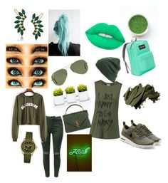 """""""green"""" by mariahhh17 on Polyvore featuring JanSport, Lime Crime, Trina Turk, Ray-Ban, BP., Bobbi Brown Cosmetics, Haute Hippie, NIKE, Oliver Gal Artist Co. and Yves Saint Laurent"""