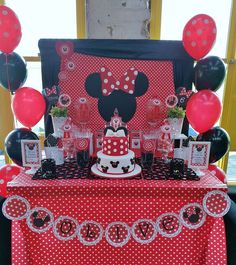 Olive's Red Minnie Mouse Party | CatchMyParty.com