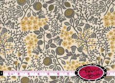 SALE MUSTARD & GRAY Fabric by the Yard Half Yard Fat Quarter Butterfly Fabric Floral Fabric Screen Printed 100% Cotton Apparel Fabric a5-13
