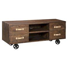 Oaktown Media Storage Cabinet  - Distressed Walnut