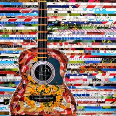 Mixed Media Acoustic Guitar Print by UpAgainstTheWall on Etsy