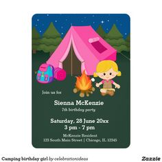 Sold #Camping #birthday #girl #invitation #kids #tent Available in different products. Check more at www.zazzle.com/celebrationideas