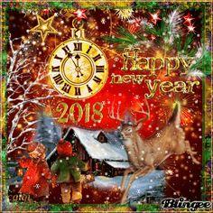 Blingee  Bonne Année 2018 pour tous mes amis