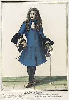 Nicolas Bonnart (1637 - 1717) Recueil des modes de la cour de France, 'Habit d'Epée', circa 1680-1690