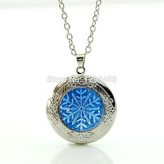 2015 Fashion women jewelry Snowflake Necklace Blue snowflower pendant glass Photo Locket necklace with long chain WNK200 #Affiliate