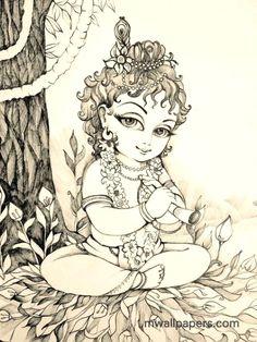 Baby Krishna Drawing Art Pinterest Krishna Krishna Art And