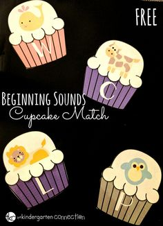 This animal-themed beginning sounds cupcake match is such a fun, free printable literacy center for Pre-K and Kindergarten to work on letters and sounds! #literacycentersfreebies #freeprintables