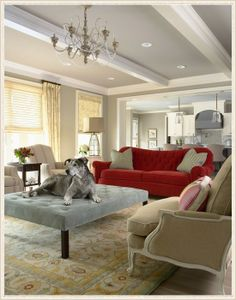 Bridge Street Residence Living Room - contemporary - living room - minneapolis - by Martha O'Hara Interiors Love the red sofa My Living Room, Home And Living, Living Room Furniture, Dog Furniture, Painted Furniture, Cottage Living, Furniture Layout, Small Living, Vintage Furniture