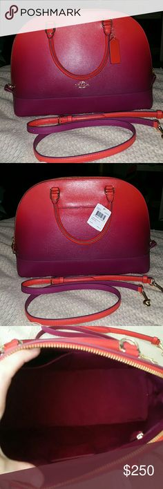 """New Coach Sierra Satchel Crossgrain Leather Ombre New With Tags!  Gorgeous Pictures do it NO JUSTICE in color,  style,  etc Coach  F38397 Ombre Sierra Satchel Color is Watermelon,  which is a Pink, watermelon sunrise color to purple in my opinion Gold Toned hardware Double Rolled Handles  Detachable Strap Back has 1 slip Pocket Interior has creed,  zip pocket, slip pockets Dome shape Gold Toned """"feet""""  No Dust bag included Have a GREAT Matching Wallet in my Closet Ask Questions  Make Offers…"""