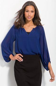 gorgeous blue 'Bohemian' chiffon blouse~ w/black pencil skirt.