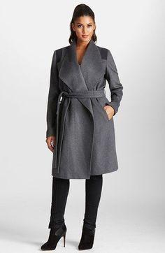Plus Size Wool Blend Wrap Coat