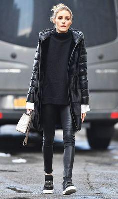 Olivia Palermo+calça em couro
