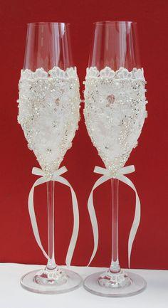 Сhampagne gafas de novia con encaje por WeddingVillage en Etsy